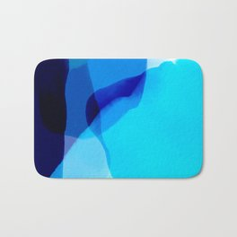 blue winter ice now abstract watercolor Bath Mat