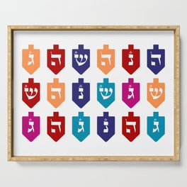 Colorful Hanukkah Dreidels with Hebrew Letters Jewish Festival of Lights Serving Tray