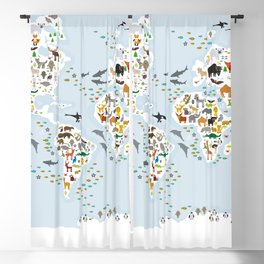 Cartoon animal world map for children and kids, Animals from all over the world, back to school Blackout Curtain