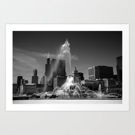 Chicago Skyline and Buckingham Fountain 2010 Art Print