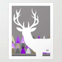 Deer Head Geometric Triangles | purple grey Art Print