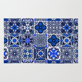 -A34- Blue Traditional Floral Moroccan Tiles. Rug