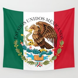 Flag of Mexico with Coat of Arms (augmented scale) Wall Tapestry