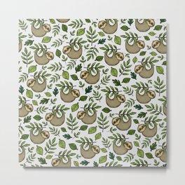 Little Sloth Hanging Around, Cute Sloth Print, Gray and Green, Hand-Drawn Sloth Metal Print