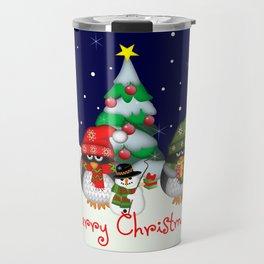Three little penguins having a Christmas party Travel Mug
