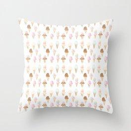Watercolor Ice Cream Cones Throw Pillow