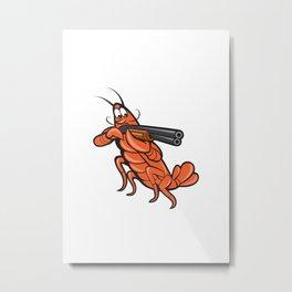 Crayfish Lobster Aiming Shotgun Cartoon Metal Print