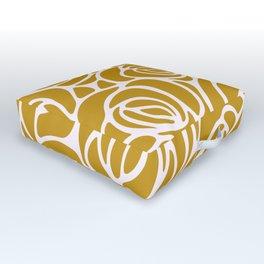 Mustard Roses Pattern Outdoor Floor Cushion