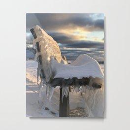 Lake Michigan Ice Bench Metal Print