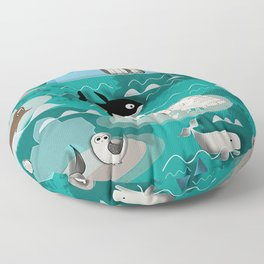 Arctic animals teal Floor Pillow