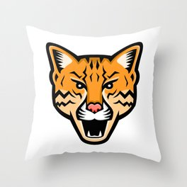 Ocelot Head Front Mascot Throw Pillow