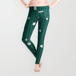 Squares and Vertical Stripes - Green and White - Hanging Leggings
