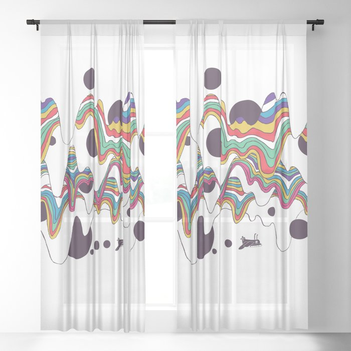 Psychedelic Planet Sheer Curtain