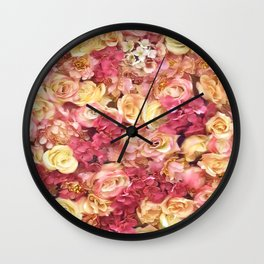 gold and pink roses floral pattern Wall Clock