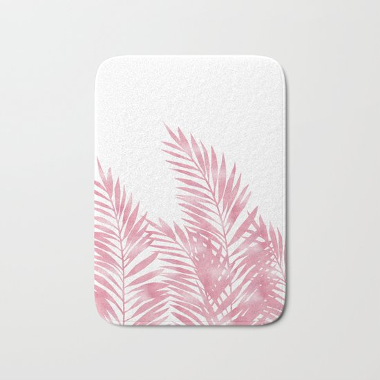 Palm Leaves Pink Bath Mat