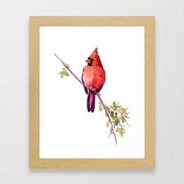 Cardinal Bird Vintage Style Red Cardinal design Framed Art Print