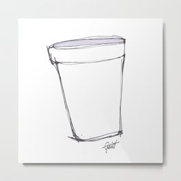 """Lean"" Foam Cup Purple / White Metal Print"