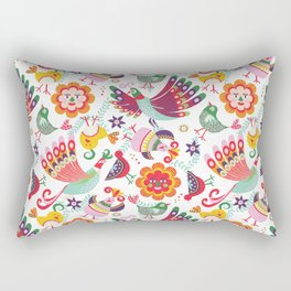 scandinavian folkart birdies | white Rectangular Pillow