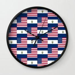 Mix of flag:  Usa and Salvador Wall Clock
