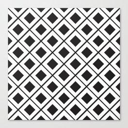Diamond Line Grid // black Canvas Print