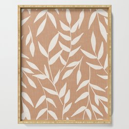 Foliage on Taupe Serving Tray