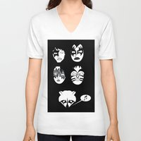 kiss V-neck T-shirts featuring kiss by Tony Vazquez