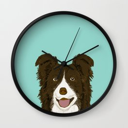 Border Collie chocolate brown cute working dog breed herding dogs gift for border collie owner pets Wall Clock