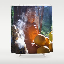 Buddha with Incense  Shower Curtain