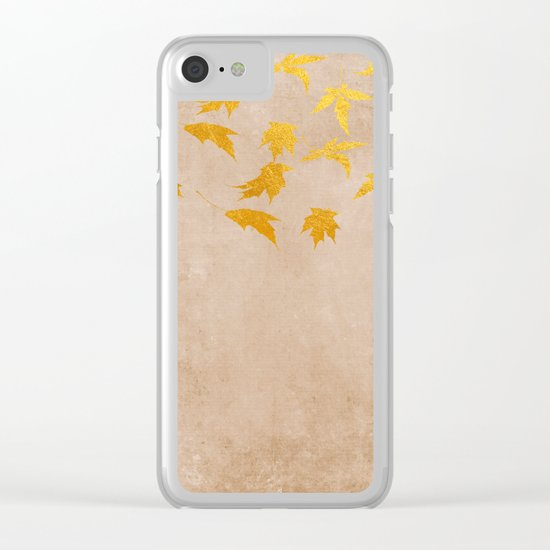 Gold leaves on grunge backround - Autumn design Clear iPhone Case