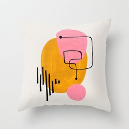 Mid Century Art by Enshape Ejaaz Haniff 'Sound Wave' Fun Colorful Pink Yellow Minimal Shapes Line Patterns Funky Space Age Throw Pillow