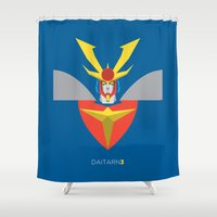 man of steel Shower Curtains featuring Invincible Steel Man Daitarn 3 by IlPizza
