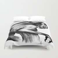 fierce Duvet Covers featuring Stay Fierce by Natalie Hall