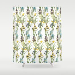 Irises 1 | Iris Flowers | Vintage Floral Pattern | Flower Patterns | Shower Curtain