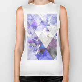 Purple and silver glitter triangle pattern- Abstract Watercolor illustration Biker Tank