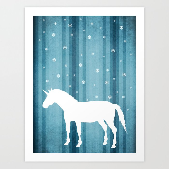 Winter Falls Unicorn Art Print