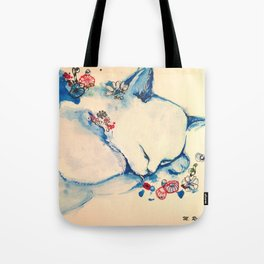 Cat sleeping with flowers Tote Bag