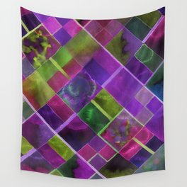 Geometric Watercolor Green and Purple Wall Tapestry