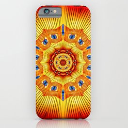 Abstract geometric infinite celestial circle star sun and flower burst pattern design in multicolors iPhone Case