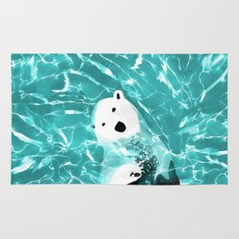 Playful Polar Bear In Turquoise Water Design Rug