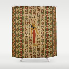 Egyptian Mut Ornament on papyrus Shower Curtain