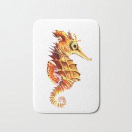 Seahorse, orange yellow cute animals illustration children room nursery sea world art Bath Mat