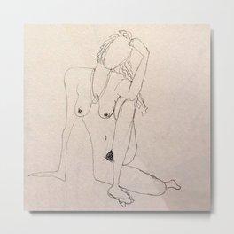 seated nude - pencil sketch Metal Print