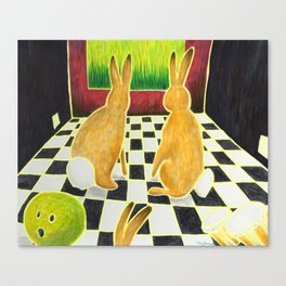 Bongo Bunnies in the Basement with a Bowling Ball Canvas Print