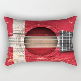 Old Vintage Acoustic Guitar with Danish Flag Rectangular Pillow