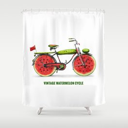 ORGANIC INVENTIONS SERIES: Vintage Watermelon Bicycle Shower Curtain