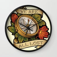 compass Wall Clocks featuring Compass by hvelge