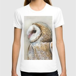 Barn Owl Watercolor, Birds Of Prey Wild Animals Owls T-shirt