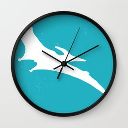 Pterodactyl Dinosaur Turquoise Blue Wall Clock