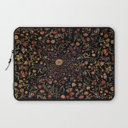 Medieval Flowers on Black Laptop Sleeve