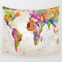 map Wall Tapestries featuring map  by mark ashkenazi